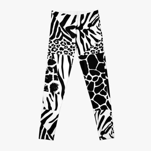 Animal Print Mix Pattern in Black and White Leggings