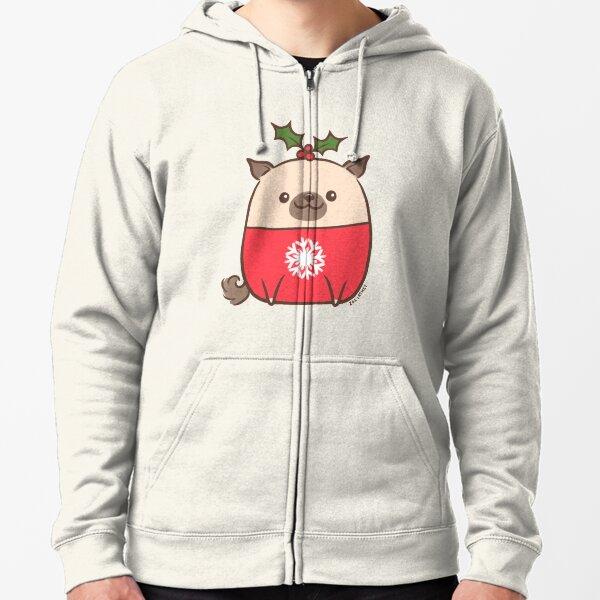 Christmas Pug Puppy  Zipped Hoodie
