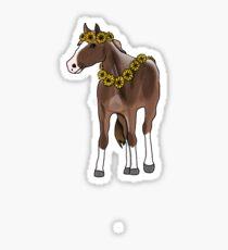 Pferd mit Sonnenblumen Sticker