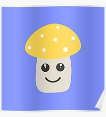 Cute yellow toadstool Poster