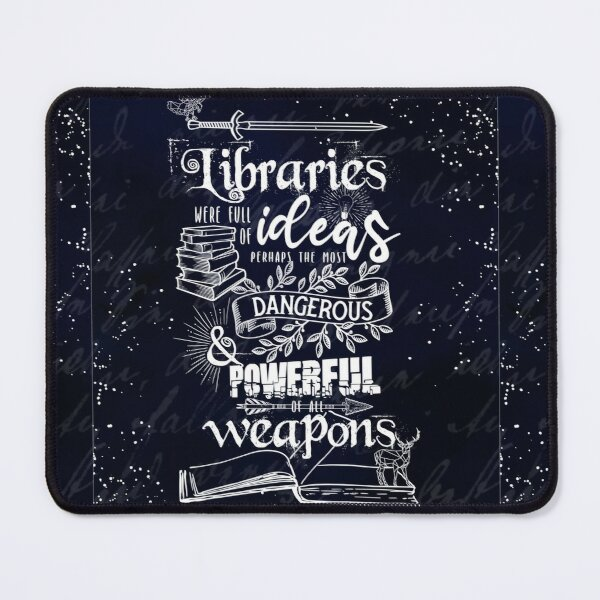 Libraries Were Full of Ideas - Navy and White ToG Quote Mouse Pad