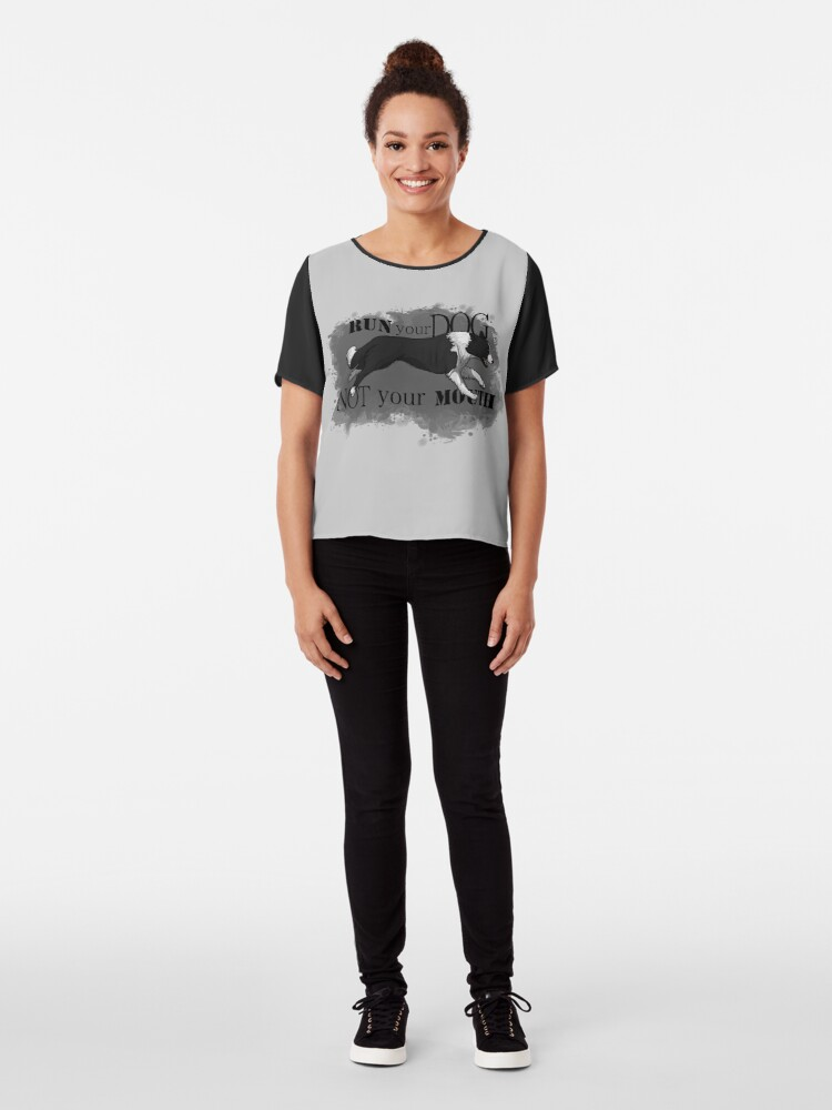 Alternate view of Run Your Dog Not Your Mouth Border Collie Chiffon Top