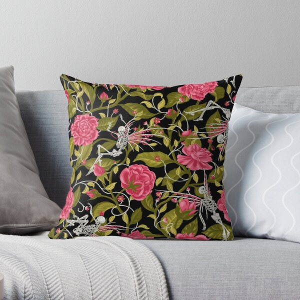 Death of Summer (pink and black) Throw Pillow