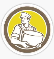 Cheesemaker Holding Parmesan Cheese Circle Sticker