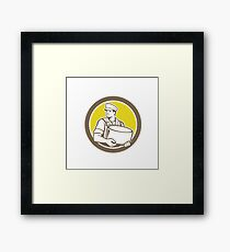 Cheesemaker Holding Parmesan Cheese Circle Framed Print