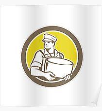 Cheesemaker Holding Parmesan Cheese Circle Poster