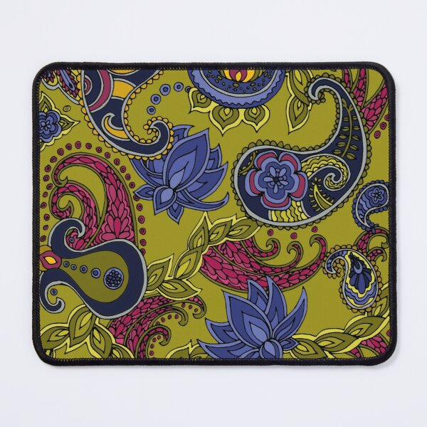 Paisley of '71 - black on green Mouse Pad