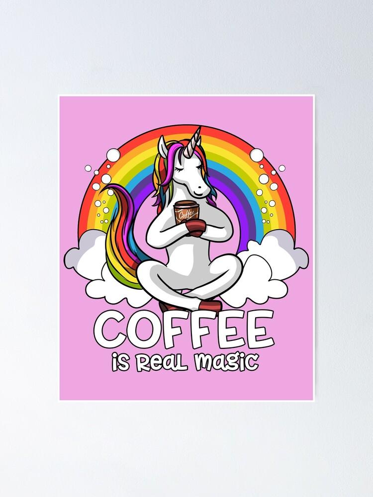 Alternate view of Unicorn Coffee Addict Poster