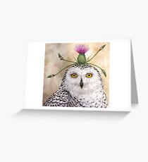 Cleveland, the snowy owl with thistle Greeting Card