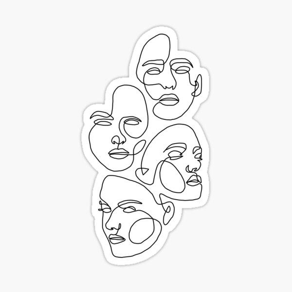 Four Faces Line Art  Sticker