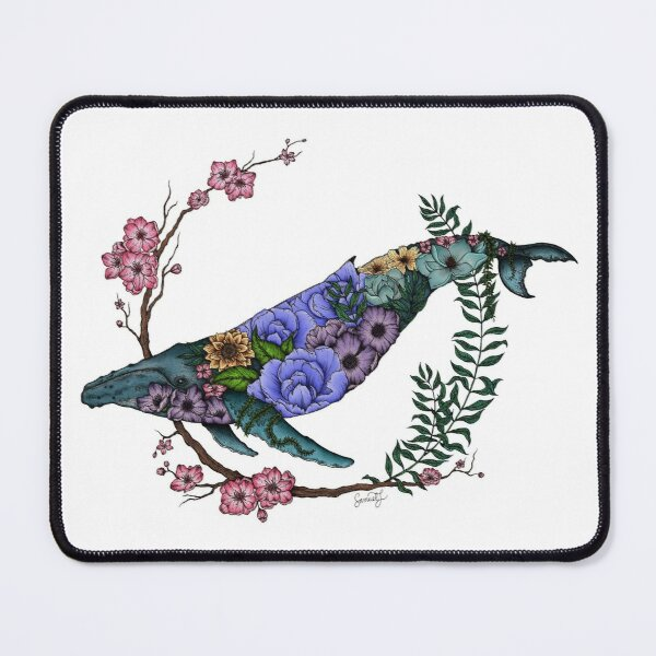 Floral Whale - Colour - White Background Mouse Pad