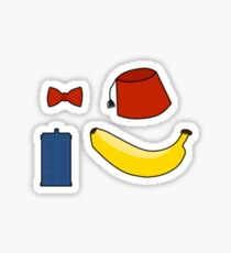Doctor Who Stickers: Bowtie, Fez, Tardis, Banana Sticker