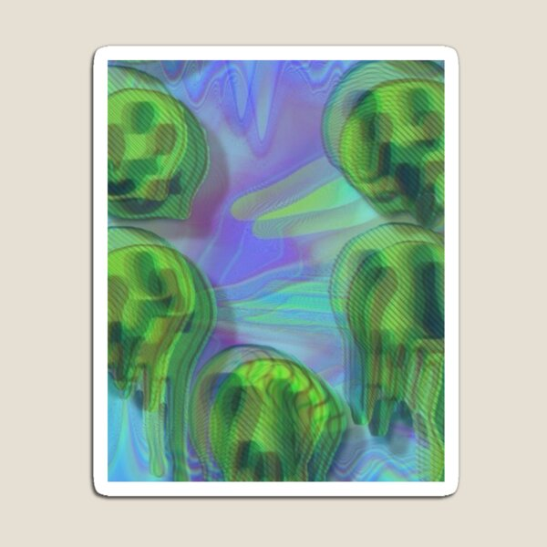 Trippy Psychedelic Melted Smiley Faces Magnet