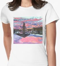 Temple Sunset  Womens Fitted T-Shirt