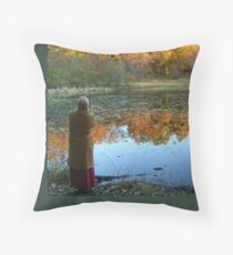 Fall Scenics over the Lake, Garrett Mountain Reservation, Woodland Park, Passaic County NJ Throw Pillow