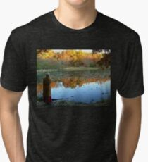 Fall Scenics over the Lake, Garrett Mountain Reservation, Woodland Park, Passaic County NJ Tri-blend T-Shirt