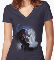 Unicorn Wars Women's Fitted V-Neck T-Shirt