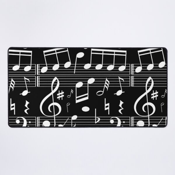 Dancing Music Notes - Black and White Desk Mat