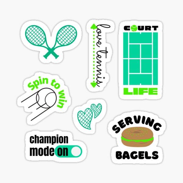 Tennis Racket Spin Ball Court Champion Bagel Sticker Pack Green Sticker
