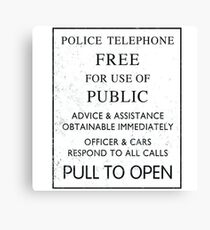 Police Telephone - Free For Public Use Canvas Print