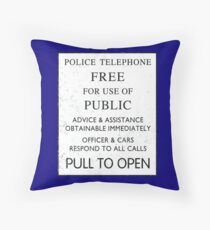 Police Telephone - Free For Public Use Throw Pillow
