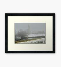 Slater Mill Dam in Winter Framed Print