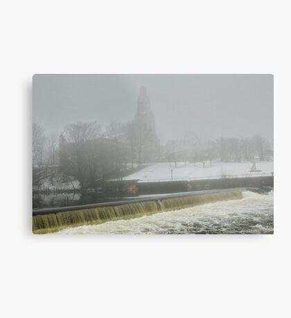 Slater Mill Dam in Winter Metal Print