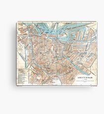 Vintage Map of Amsterdam (1905) Metal Print