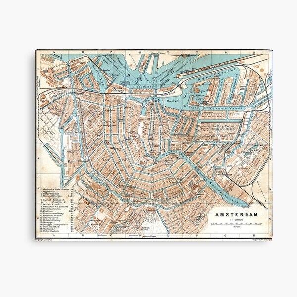 Vintage Map of Amsterdam (1905) Canvas Print