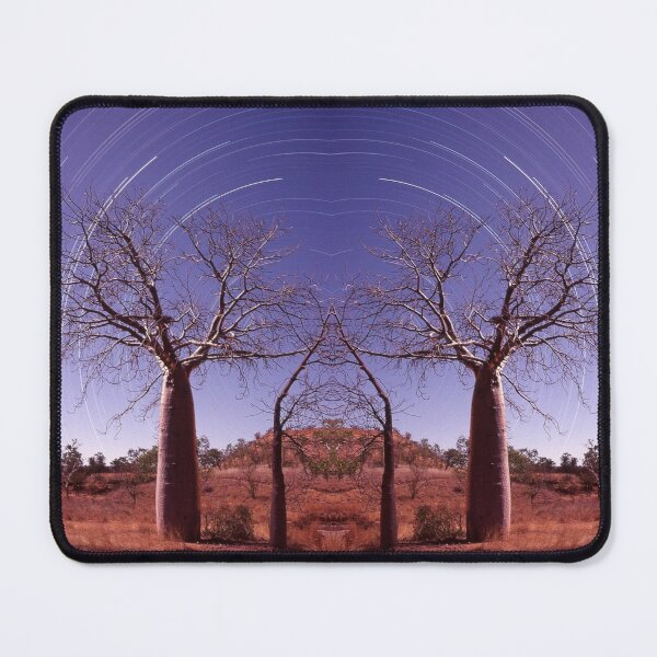 Boab tree and star trails Mouse Pad