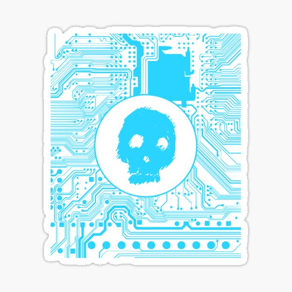 Blue Blurry Skull (Cybergoth) Sticker