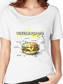 Cheeseburger Illustration with its Ingredients Women's Relaxed Fit T-Shirt