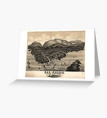 Vintage Pictorial Map of Bar Harbor (1886) Greeting Card