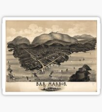 Vintage Pictorial Map of Bar Harbor (1886) Sticker