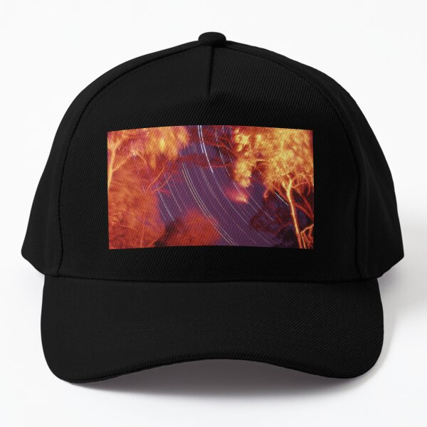 Star trails with 'flaming' trees Baseball Cap