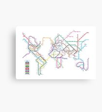 World Tube Metro Map Canvas Print