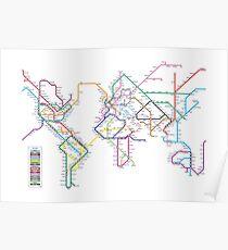 Welt U-Bahn U-Bahn-Karte Poster