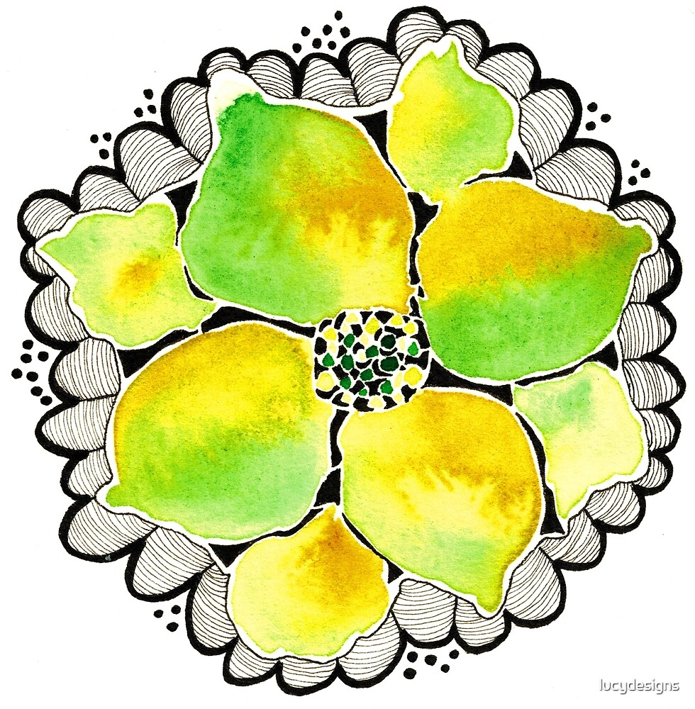 Green and Yellow Flower Doodle by lucydesigns