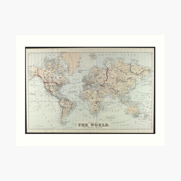 Vintage Map of The World (1875)  Art Print