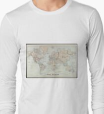 Vintage Map of The World (1875)  Long Sleeve T-Shirt