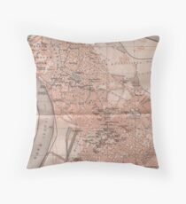 Vintage Map of Belgrade Serbia (1905) Throw Pillow