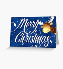 Swirly Merry Cristmas Text and Cute Reindeer Christmas Card Greeting Card