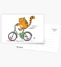 Funny cat on bicycle and mouse Postcards