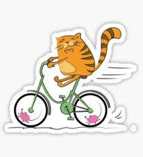 Funny cat on bicycle and mouse Sticker