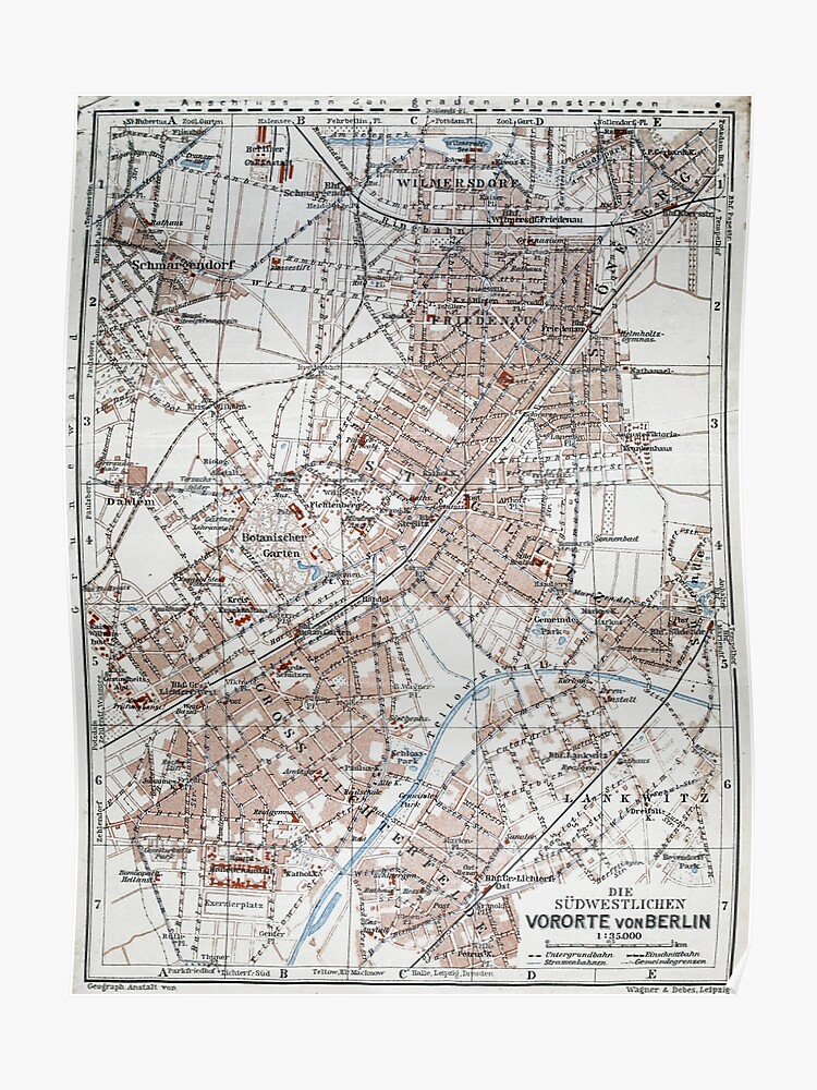 Map Of Germany In 1914.Vintage Map Of The Berlin Germany Suburbs 1914 Poster