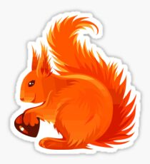 Orange Squirrel Holding Nut Sticker