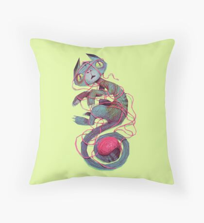 cat + thread Throw Pillow