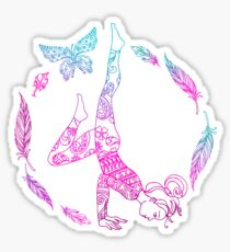 yoga girl with feathers and butterfly mandala 2 Sticker