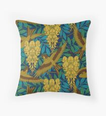 Vintage Art Deco Birds and Leaves Throw Pillow
