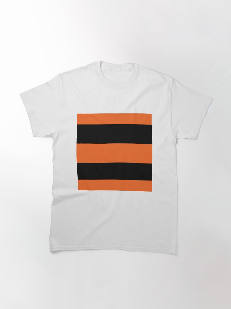 Alternate view of Halloween Stripes - Black and Orange - Classic striped pattern by Cecca Designs Classic T-Shirt
